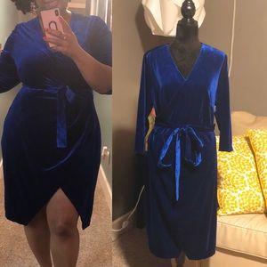 ELOQUII Blue Wrap Velvet dress